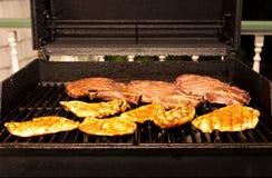 Bistecca e petto di pollo di manzo della griglia immagini stock libere da diritti