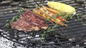 Bistecca nella lombata con le verdure che cucinano sul fuoco video d archivio
