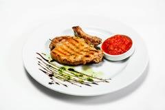 Bistecca sul piatto per il menu Fotografie Stock