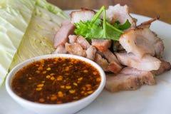 Bistecca Tailandia del collo della carne di maiale Immagini Stock