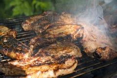 Bistecche del petto su una griglia immagine stock libera da diritti