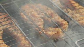 Bistecche della trota al forno sulla griglia, primo piano stock footage