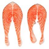 Bistecche di color salmone fresche Fotografie Stock