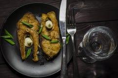 Bistecche di pesci fritte Fotografie Stock