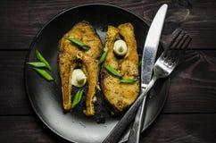 Bistecche di pesci fritte Fotografia Stock