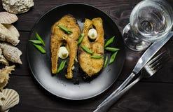 Bistecche di pesci fritte Fotografia Stock Libera da Diritti