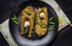 Bistecche di pesci fritte Fotografie Stock Libere da Diritti