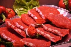 Bistecche di raccordo crude Fotografia Stock