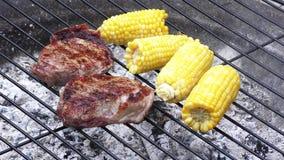 Bistecche e cereale che cucinano all'aperto sul fuoco video d archivio