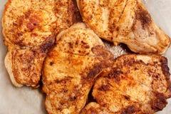 Bistecche succose del pollo fritto Fotografia Stock