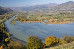Bistrita河谷在秋天 库存照片