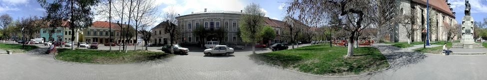 Bistrita Central Square 360 degrees panorama Stock Photos