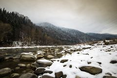 Bistrita river in winter with snow in Romania Stock Images