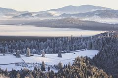 Winter scenery. Bistritei Mountains viewed from Tihuta Pass Royalty Free Stock Photos