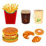 Bistro food and drink set isolated on white. Unhealthy meal. Bistro food and drink set isolated on white. Double cheeseburger, fried potatoes, takeaway cup of Stock Photography