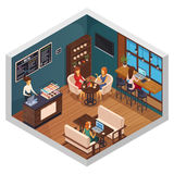 Bistro Isometric Interior Composition. Internet cafe interior restaurant pizzeria bistro canteen isometric composition of visitors using wi-fi  on gadgets vector Stock Image