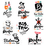 Bistro logo, images and design elements. Quick hot food symbols and illustration handmade Stock Photo