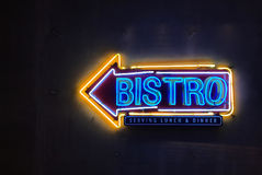 Bistro neon sign Stock Image