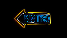 Bistro neon sign. Royalty Free Stock Photography