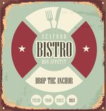 Bistro old metal sign. Bistro retro sign on old rusty metal. Vintage restaurant unique design concept. Food and drink theme. Seafood promotional banner template Stock Photos