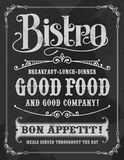Bistro Restaurant Chalkboard Sign. Bistro Poster Chalkboard Sign, vintage vector design with removable texture Royalty Free Stock Image