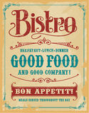 Bistro Restaurant Poster Sign. Bistro Poster Sign, vintage vector design with removable texture Stock Photos