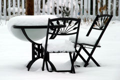 Bistro Set Melting Stock Photos