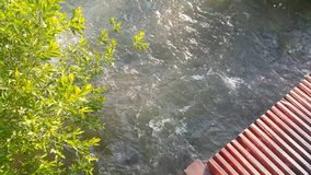 Bistroe floden i sommaren, med bron som är synlig i en riktning lager videofilmer