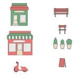 Bistros plats de restaurant de café de style peu chaussures et café figés de marché de nourriture d'icône minuscule de boutique Image libre de droits