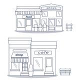 Bistros plats de restaurant de café de style peu chaussures et café figés de marché de nourriture d'icône minuscule de boutique Photographie stock libre de droits