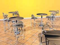 Bistrot room - 3D render. Modern chairs and tables in a yellow room Royalty Free Stock Images