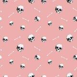 8bit头骨样式桃红色 免版税图库摄影