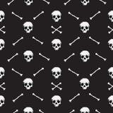 8bit头骨样式黑色背景 免版税库存图片