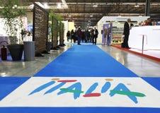 BIT 2013, International Tourism Exchange. Entering Italy tourism stands area during BIT 2013, International Tourism Exchange in Milan, Italy Stock Photos