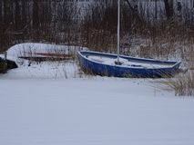 Snowflakes has covered the boat. It is a bit annoyance that someone has left this kind of boat in ice Stock Photography