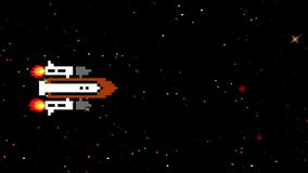 Space shuttle in arcade game style in loop. 8 bit arcade video game graphic royalty free illustration