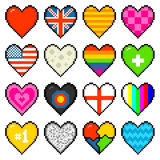 8-bit Assorted Pixel Hearts Royalty Free Stock Photo