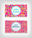8 bit business card design. 8 bit pink business card design Royalty Free Stock Image