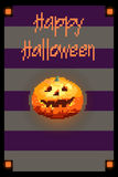 8 bit card Halloween pumpkin. 8 bit postcard Halloween pumpkin Stock Image