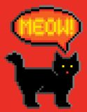 8-Bit Cat Meowing. Meowing black cat illustrated in 8-bit computer gaming style Stock Photography