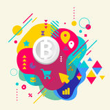 Bit coin on abstract colorful spotted background with different Stock Photo