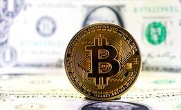 Bit coin against dollar Stock Photo