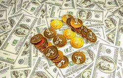 Bit coin BTC the new virtual mone, 3d render Royalty Free Stock Photos