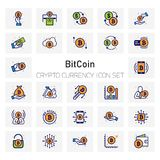 Bit Coin Crypto Currency icons set. For web design and application interface, also useful for infographics. Vector illustration Royalty Free Stock Images