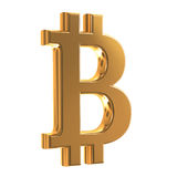 Bit coin. Golden sign virtual currency bit cion Royalty Free Stock Images