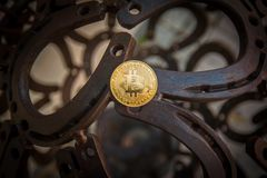 Bit coin with horseshoe royalty free stock photo