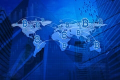 Bit coin icon with connection line over map and city background,. Elements of this image furnished by NASA Stock Photography