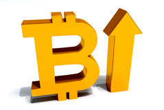 Bit Coin increase. 3D image white background Royalty Free Stock Images