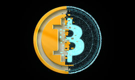 Bit Coin Metal And Digital Concept Royalty Free Stock Photography