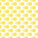 Bit coin seamless pattern consisting of flying money yellow. Bit coin seamless pattern consisting of flying money yellow color flat style for cryptocurrency Royalty Free Stock Images